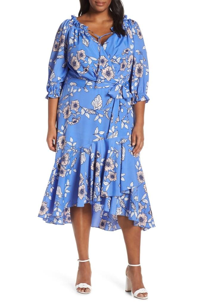 57475e4521dc Eliza J Gathered Neck Faux Wrap Midi Dress | Best Wedding Guest ...
