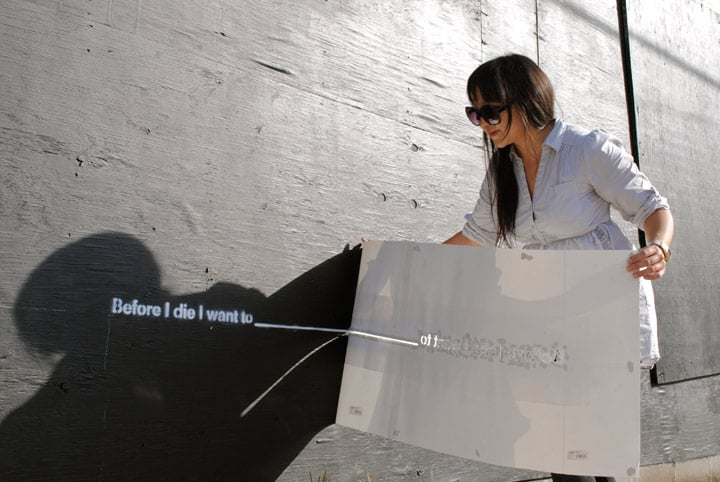 "Artist Candy Chang prepped a ""Before I Die"" wall. Photo courtesy of BeforeIDie.com"