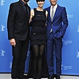 Anne Hathaway posed with Hugh Jackman and Eddie Redmayne at the Berlin Film Festival.