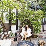 """""""I love the teardrop chairs around the firepit. It's such a great little nook now for reading or hanging out around the fire."""""""