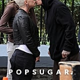 Pink and Carey Hart exchanged an adorable peck on the NYC set of her movie Thanks For Sharing in October 2011.