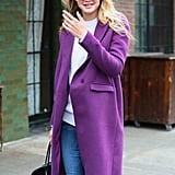 Gigi could've stopped traffic in the bold coat she sported on the streets of NYC.