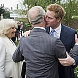 Harry embraced Prince Charles at the Chelsea Flower Show in 2013.