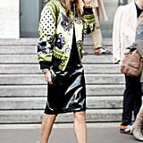 Anna Dello Russo wore a Givenchy cat-ear cap during Milan Fashion Week.