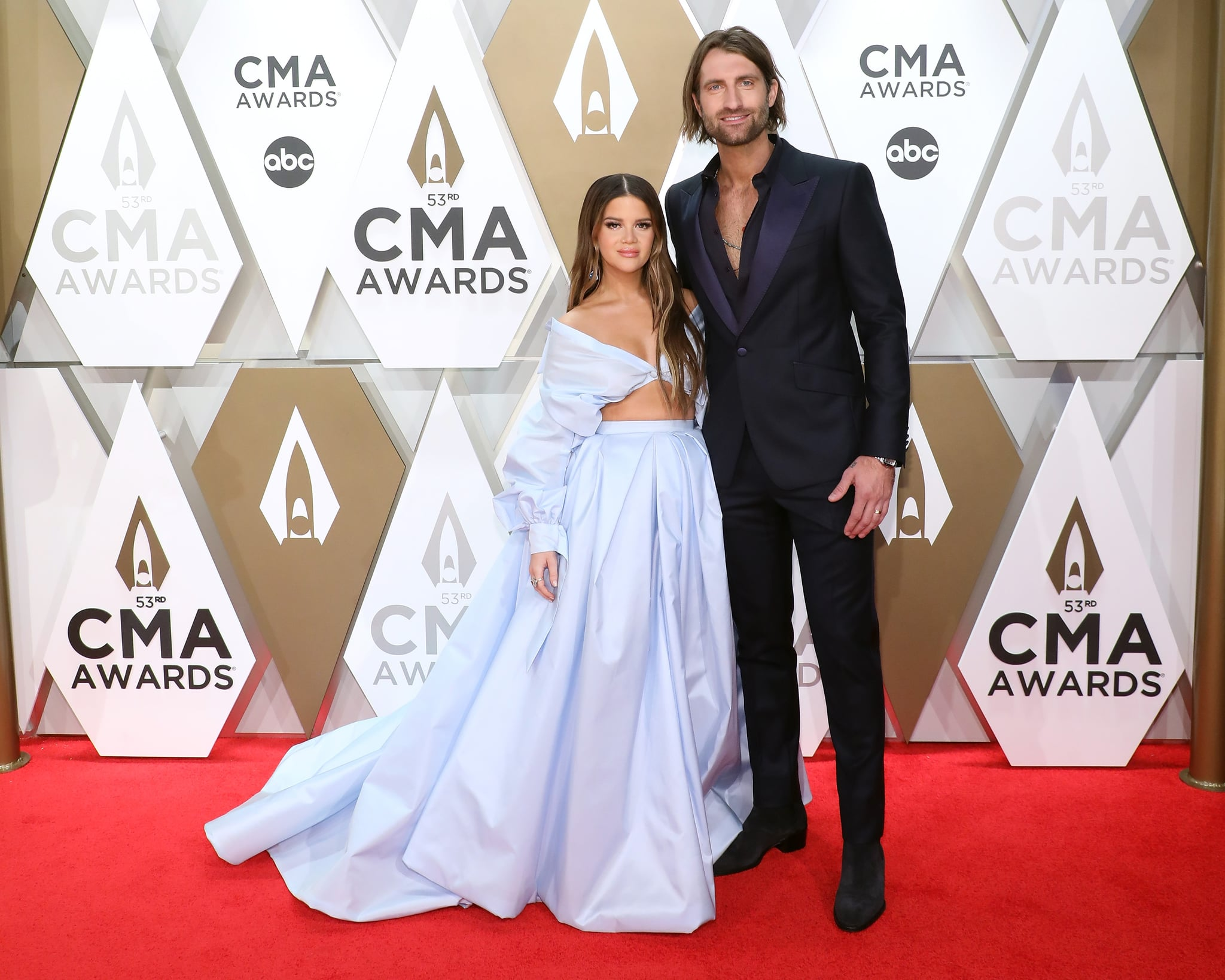 NASHVILLE, TENNESSEE - NOVEMBER 13: (FOR EDITORIAL USE ONLY)  Maren Morris and Ryan Hurd attend the 53nd annual CMA Awards at Bridgestone Arena on November 13, 2019 in Nashville, Tennessee. (Photo by Taylor Hill/Getty Images)