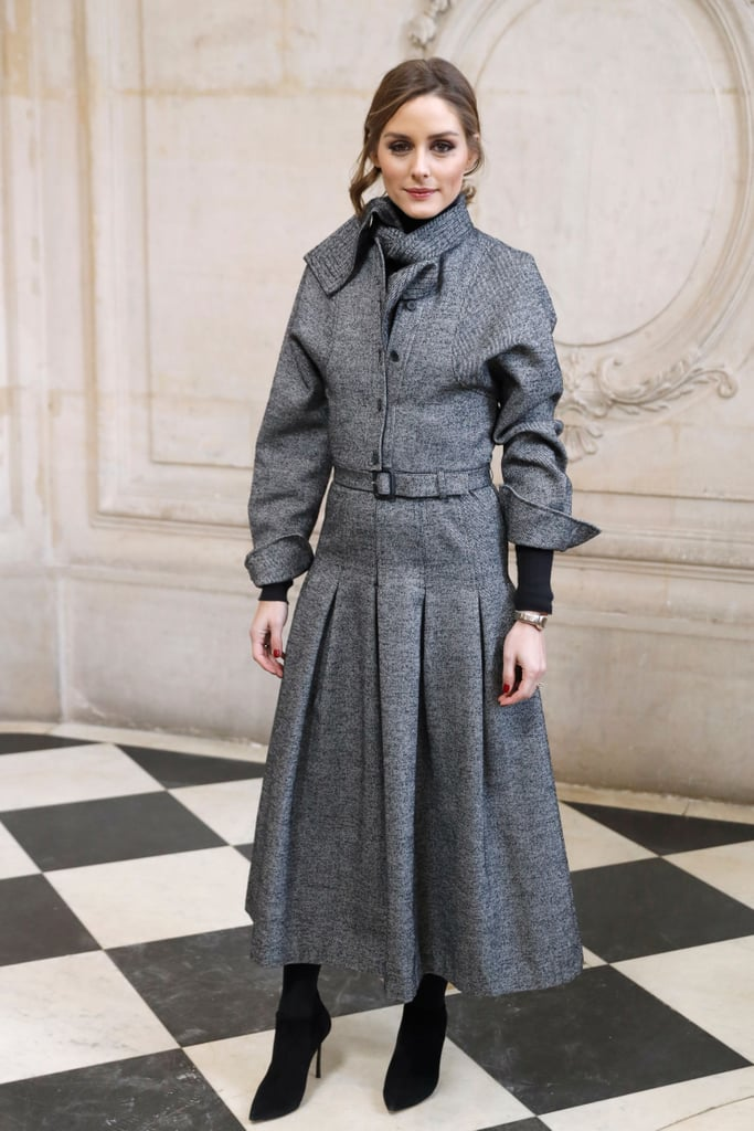 Olivia Palermo Also Sat Front Row in a Modest Gray Dress