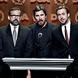 Pictured: Steve Carell, Ryan Gosling, and Christian Bale