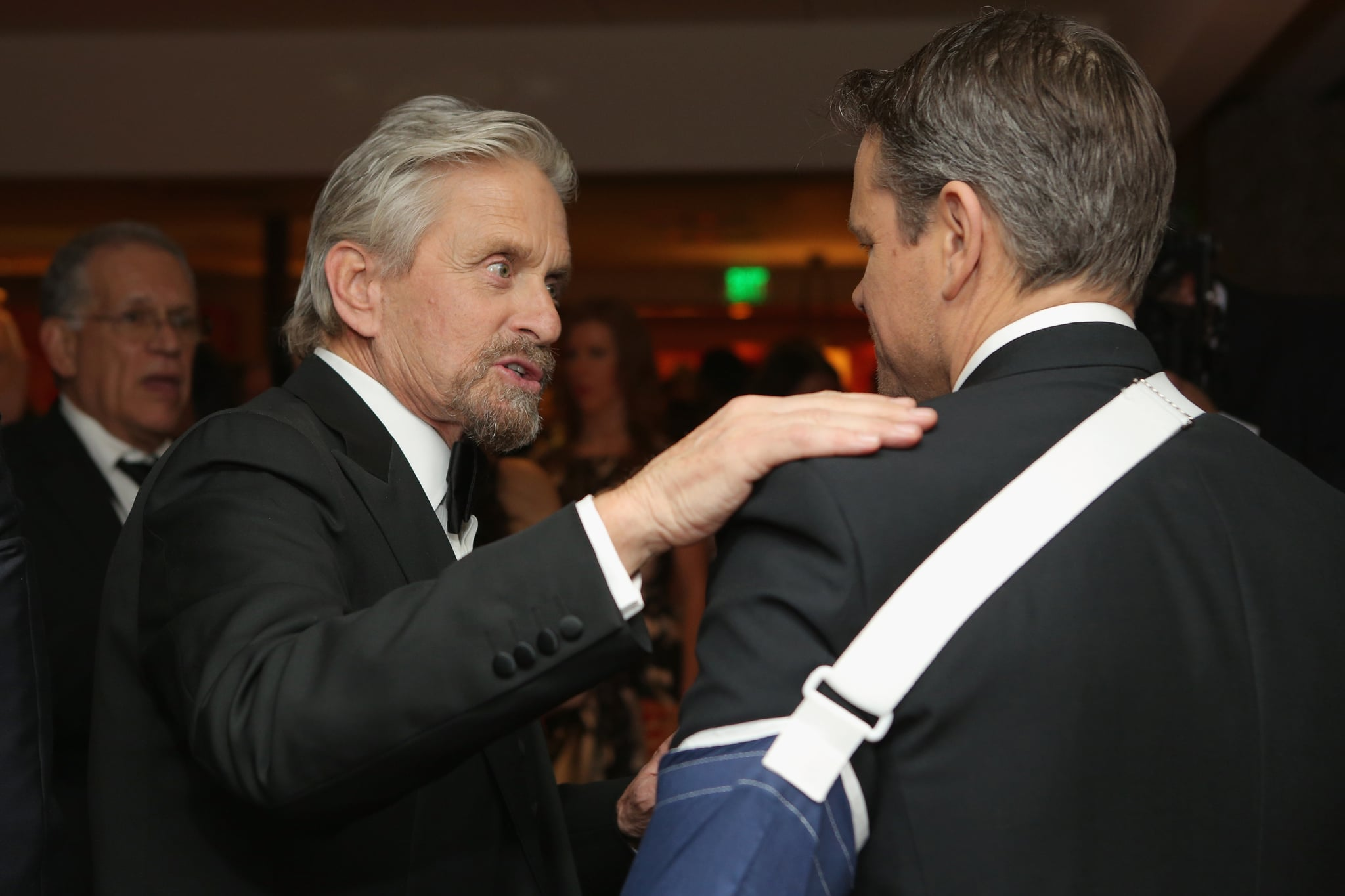 Michael Douglas and Matt Damon had a chat inside.