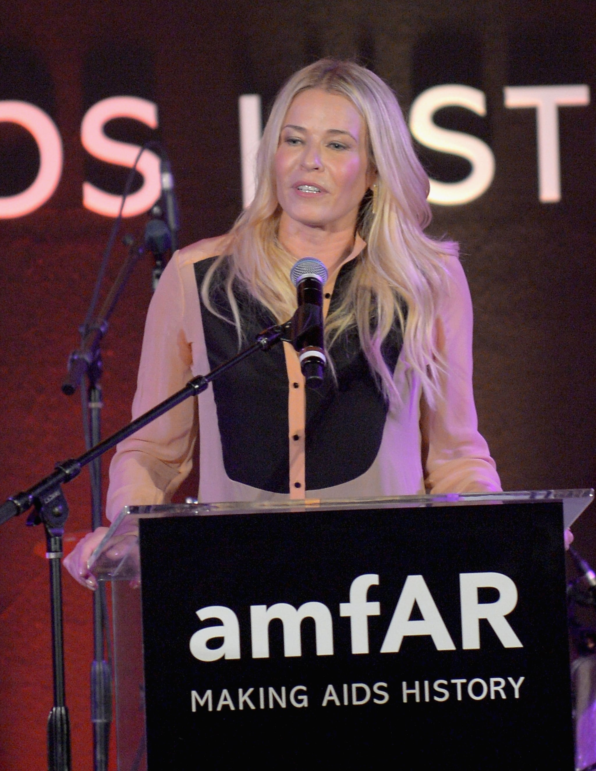 Chelsea Handler appeared on stage at the amfAR Gala in LA.