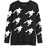 Houndstooth Hi-Low Hem Sweater