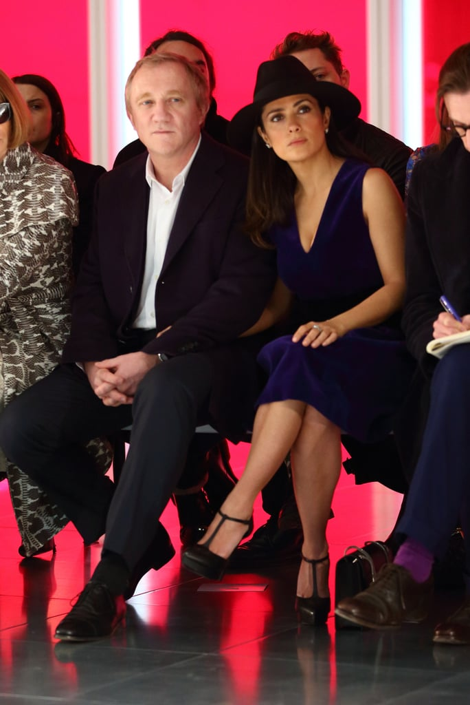 Salma Hayek sat front row at the Christopher Kane fashion show with  Francois-Henri Pinault on Monday.
