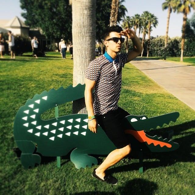 Joe Jonas hopped on a Lacoste crocodile.  Source: Instagram user joejonas