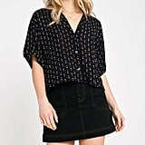 UO Arrow Print Relaxed Button-Front Shirt