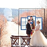 With an observatory setting the scene, the couple is married by an officiant clad in a Fourth Doctor scarf.  Source: Candice Benjamin Photography