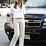 Nina Garcia proved great fashion doesn't have to be complicated — just add a summery top to your favorite trousers.