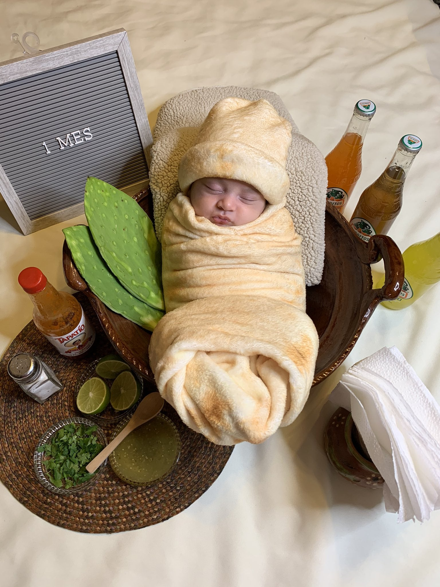 Mom Dresses 1 Month Old Baby Up As A Burrito Popsugar Family