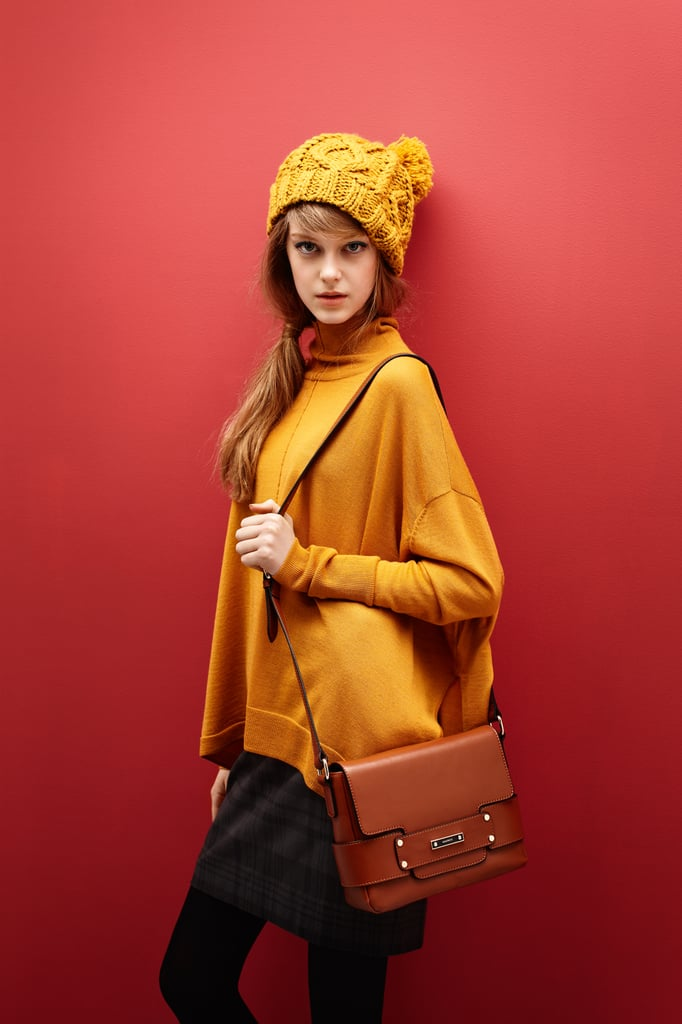 Beanie $59, Poncho $159, Pencil Skirt $149 and Cross Body Bag $169.