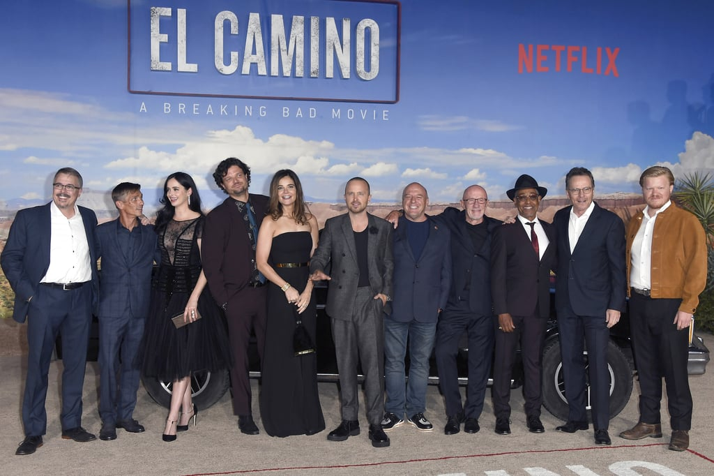 It was a family affair at the premiere of Netflix's El Camino: A Breaking Bad Movie. An Albuquerque family affair, that is. On Monday night, the cast of Breaking Bad reunited, and whether they ended the series dead or alive in 2013, they all looked ecstatic to be back together for the event in LA. Bryan Cranston, Aaron Paul, Dean Norris, Jonathan Banks, Jesse Plemons, RJ Mitte, and more of the original cast members posed for photos and enjoyed drinks of Hank Schrader's very own Schraderbräu Beer and Bryan and Aaron's real-life Mezcal Dos Hombres. The Netflix movie hits the streaming service on Oct. 11 and it picks up right where the AMC series ended, following the life and escape of Aaron's Jesse Pinkman. It's unknown how many of the original cast members will be making appearances in the follow-up film, but based on the trailer, we'll be running into a few familiar faces like Badger, Skinny Pete, Mike Ehrmantraut, and old Joe from the impound lot. Check out photos of the Breaking Bad cast at the El Camino premiere ahead, and get excited for Jesse Pinkman to be back in our lives when the film hits Netflix this weekend.      Related:                                                                                                                                Netflix's Breaking Bad Movie Trailer Is Here, and It Looks Like Jesse Pinkman Is on the Run