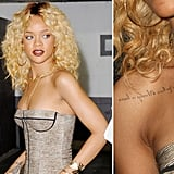 "Rihanna got ""Never a failure, always a lesson"" written backwards on her chest from NYC tattoo artist Keith ""Bang Bang"" McCurdy."