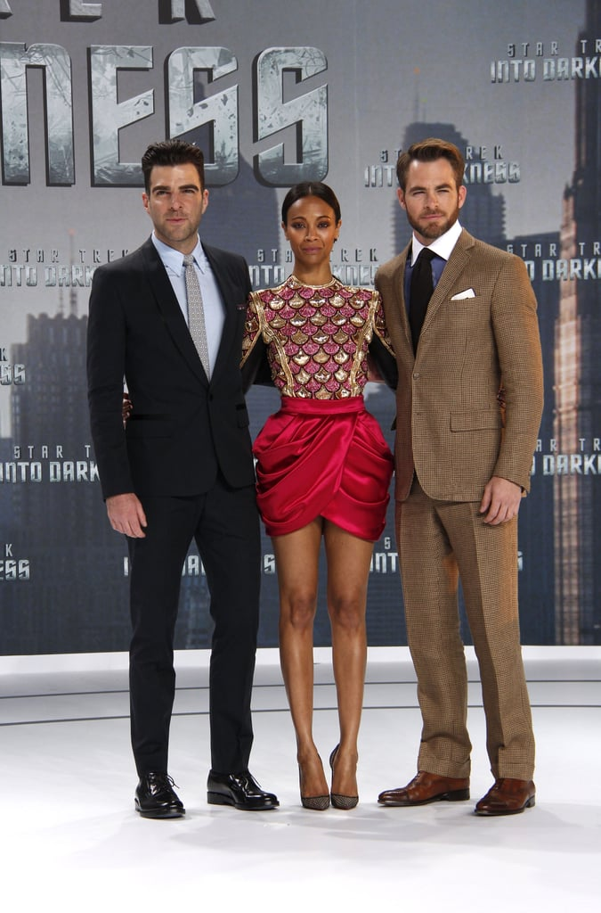 Zachary Quinto, Zoe Saldana and Chris Pine got together before heading into the Star Trek Into Darkness premiere in Berlin.