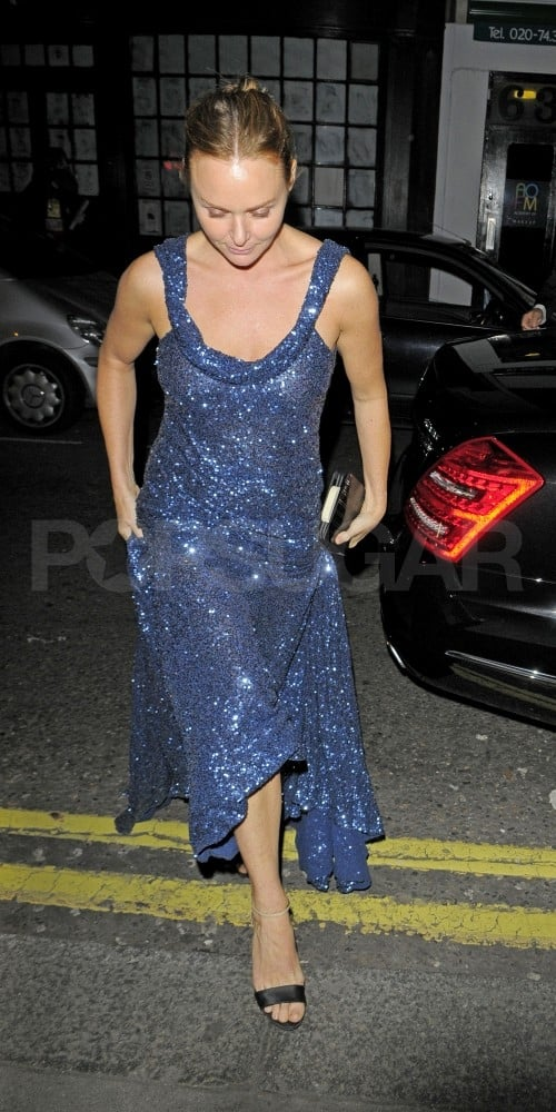 Stella McCartney wears a sequined blue gown of her own design.