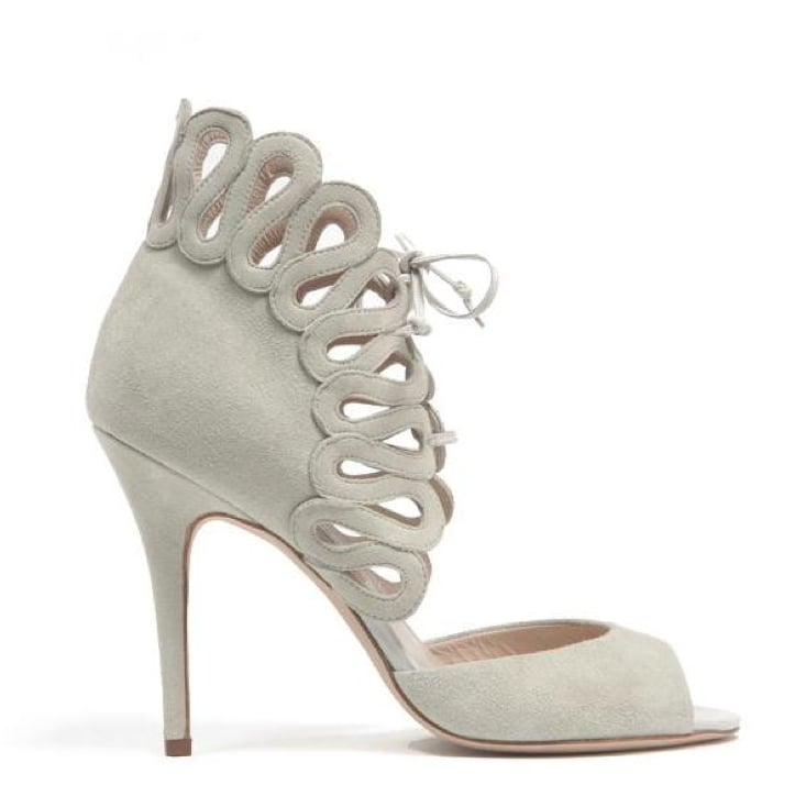 Monique Lhuillier Light Gray Suede Sandal ($950)