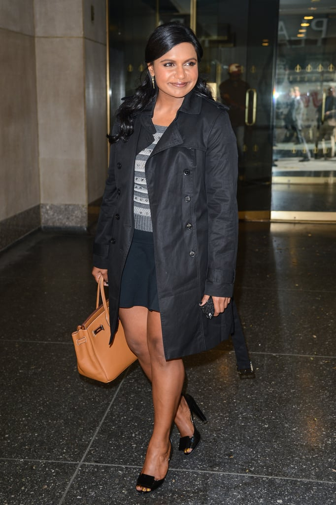 Out and about in NYC in September 2013, Mindy channeled alter ego Dr. Lahiri with a chic skirt and top combo — and a Birkin bag in tow.