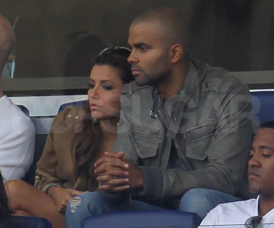 Slide Picture of Tony Parker and Eva Longoria Watching Soccer in New Jersey