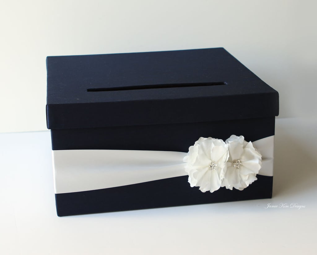 Navy Blue Wedding Card Box