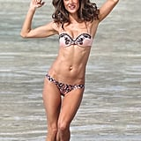 Alessandra Ambrosio jumped around in the water during a photo shoot Thursday in St. Barts.