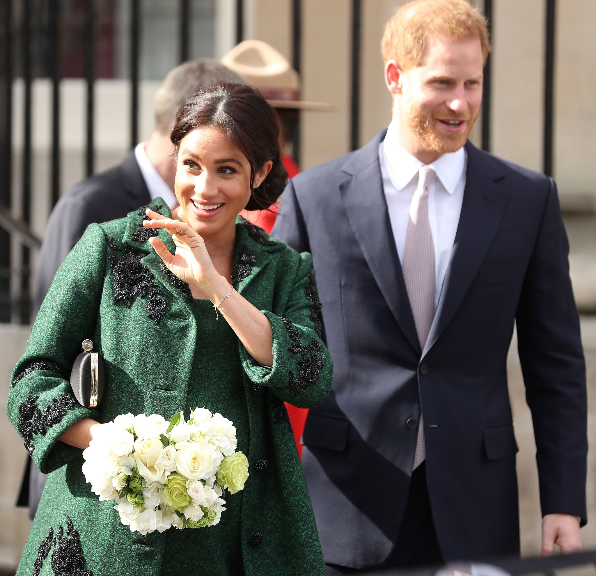 Britain's Prince Harry, Duke of Sussex (R) and Meghan, Duchess of Sussex react as they leave from Canada House, the offices of the High Commission of Canada in the United Kingdom, after attending an event to mark Commonwealth Day, in central London, on March 11, 2019. - Britain's Queen Elizabeth II has been the Head of the Commonwealth throughout her reign. Organised by the Royal Commonwealth Society, the Service is the largest annual inter-faith gathering in the United Kingdom. (Photo by Daniel LEAL-OLIVAS / AFP)        (Photo credit should read DANIEL LEAL-OLIVAS/AFP/Getty Images)