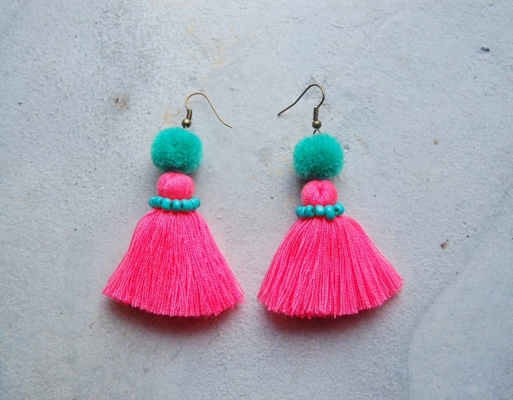 Neon Pink Tassel Earrings with Pom-Poms