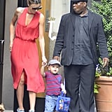 Miranda Kerr helped Flynn walk in NYC.