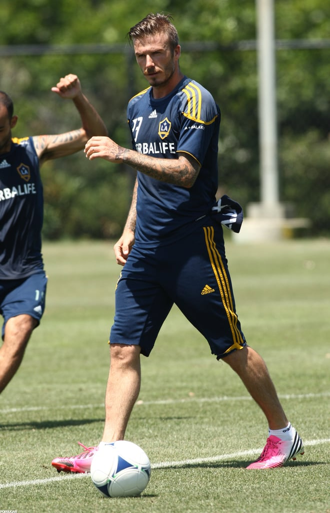 "David Beckham learned the sad news that he didn't make the cut for the UK Olympics team, as he'd hoped. Nonetheless, David cleated up today for a practice session with the squad he does play for, the LA Galaxy. When David found out about his status in the Summer Games, he took it in stride. David Beckham said of the Olympics, ""Naturally, I am very disappointed, but there will be no bigger supporter of the team than me . . . Everyone knows how much playing for my country has always meant to me, so I would have been honored to have been part of this unique Team GB squad."" David did, though, rank in the 2012 PopSugar 100. David's wife, Victoria, has reunited with her own British team of sorts. Victoria and the Spice Girls, Melanie Brown, Melanie Chisolm, Emma Bunton, and Geri Halliwell, linked up for a photo op earlier this week to announce the opening of a West End musical, Viva Forever!, which features some of their top hits from their pop careers."