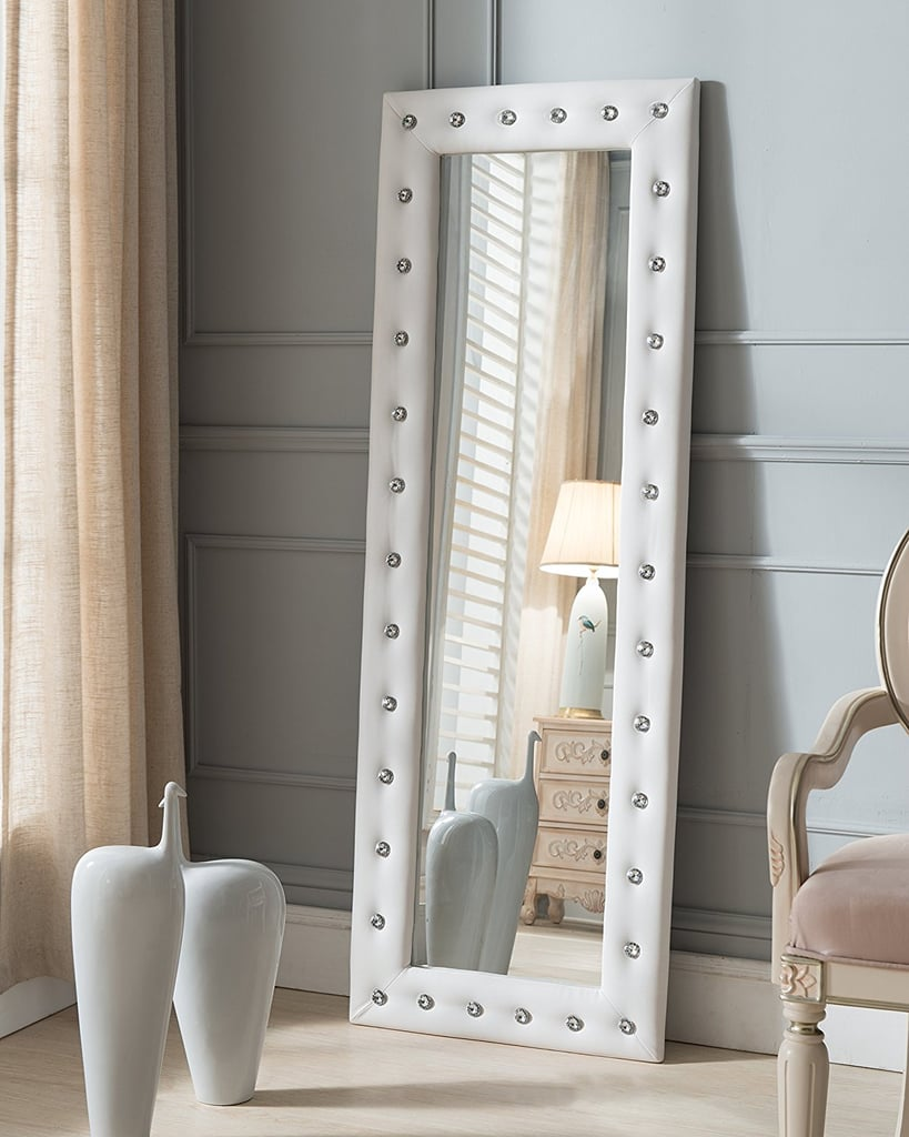 Kings Brand White Modern Upholstered Tufted Standing Floor Mirror