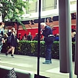 Bill Cunningham wasted no time getting set up.  Source: Instagram user HuffPostStyle