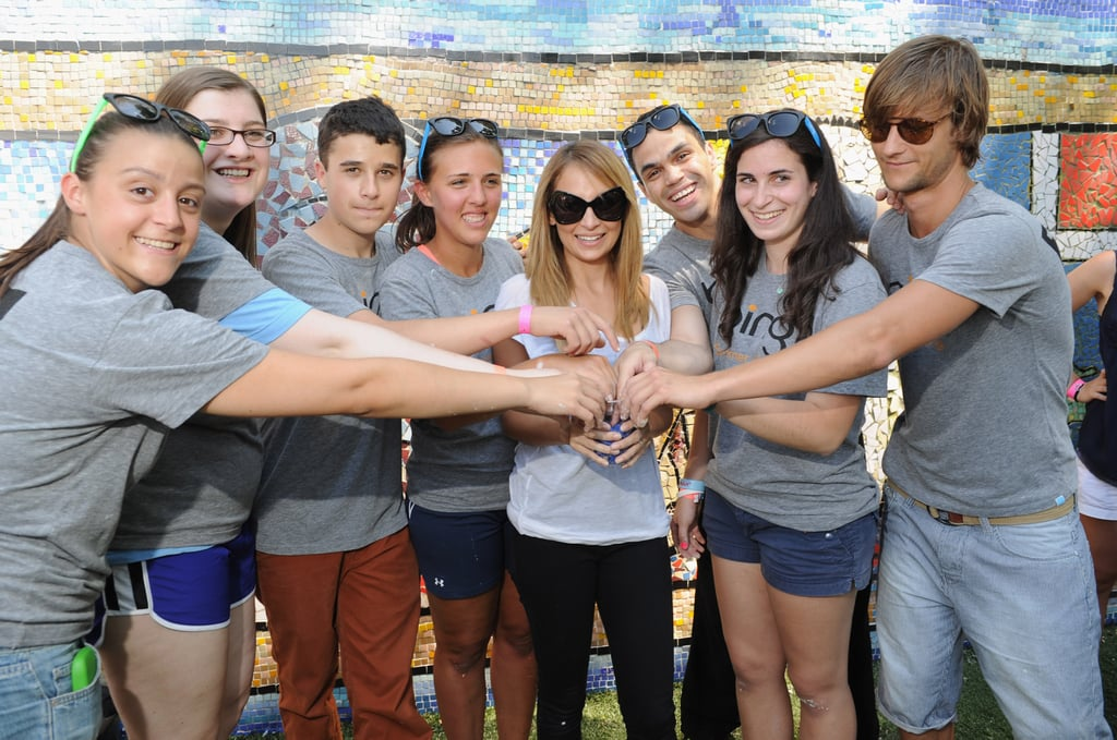 Nicole Richie posed with teens at the Bing Summer of Doing Event in NYC yesterday.