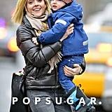 Jane Krakowski carried her son Bennett around NYC on Tuesday.