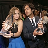 Kaley Cuoco and Kunal Nayyar were happy to pose with their awards.