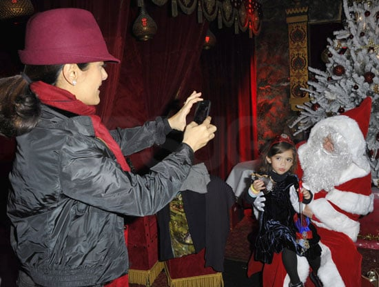 Pictures of Salma Hayek and Valentina Visiting Santa