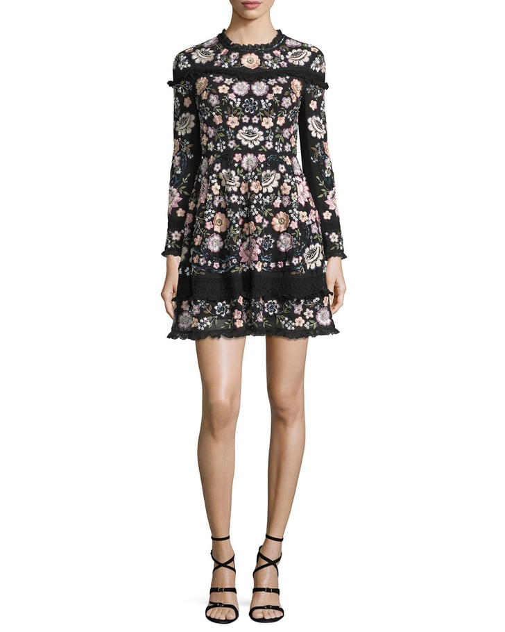 Needle thread long sleeve floral embellished mini dress for Winter wedding guest dresses with sleeves