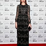 Elettra Wiedemann opted for a black embroidered gown and a simple black clutch.
