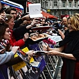 Michelle Pfeiffer greeted fans at the Dark Shadows premiere in London.