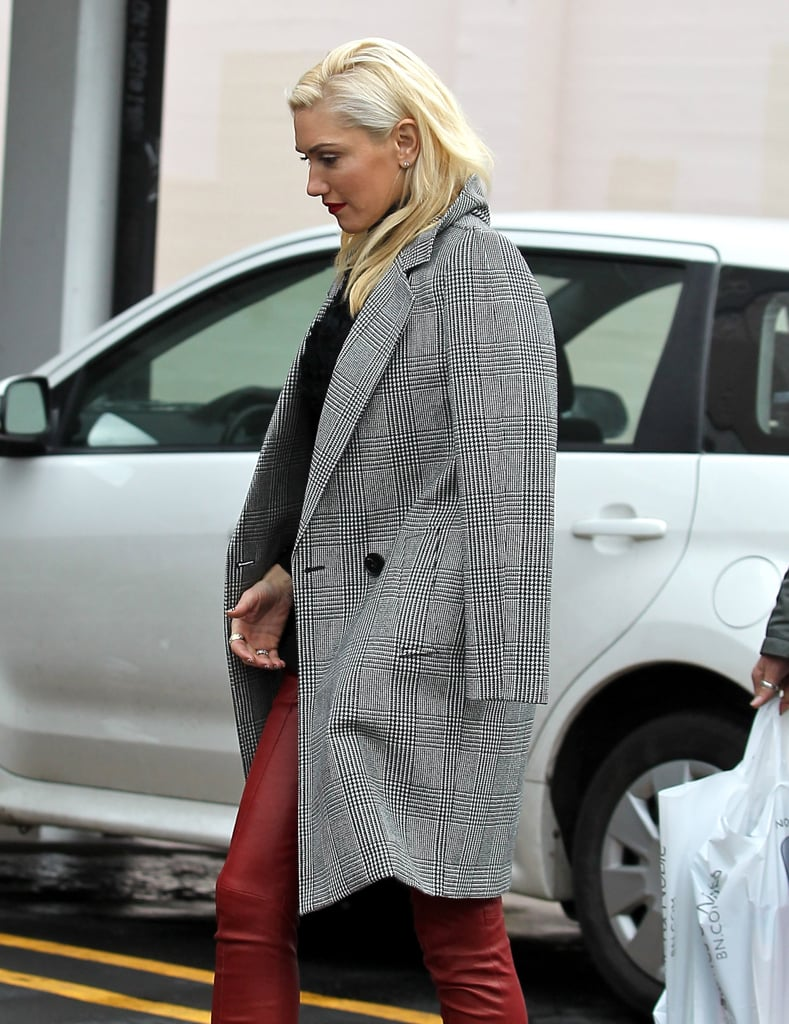 Gwen Stefani looked chic in a tweed coat.