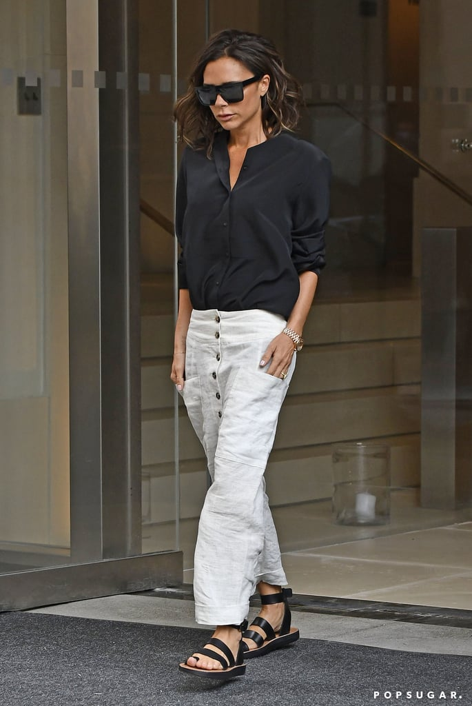 victoria beckham 39 s white pants new york september 2016 popsugar fashion. Black Bedroom Furniture Sets. Home Design Ideas