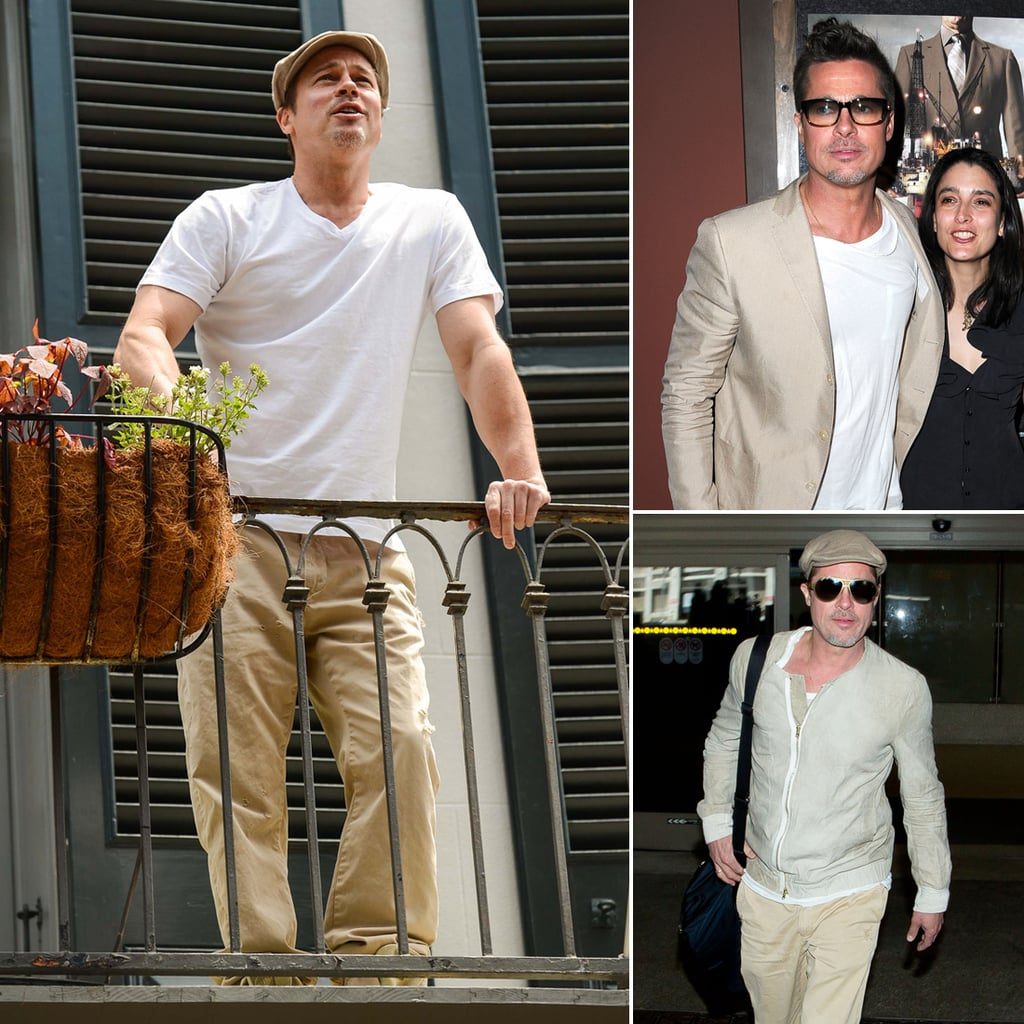 Brad Pitt Wearing a White T-Shirt   Pictures