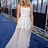 Brooklyn Decker posed on the blue carpet in LA for the West Coast premiere of Battleship.