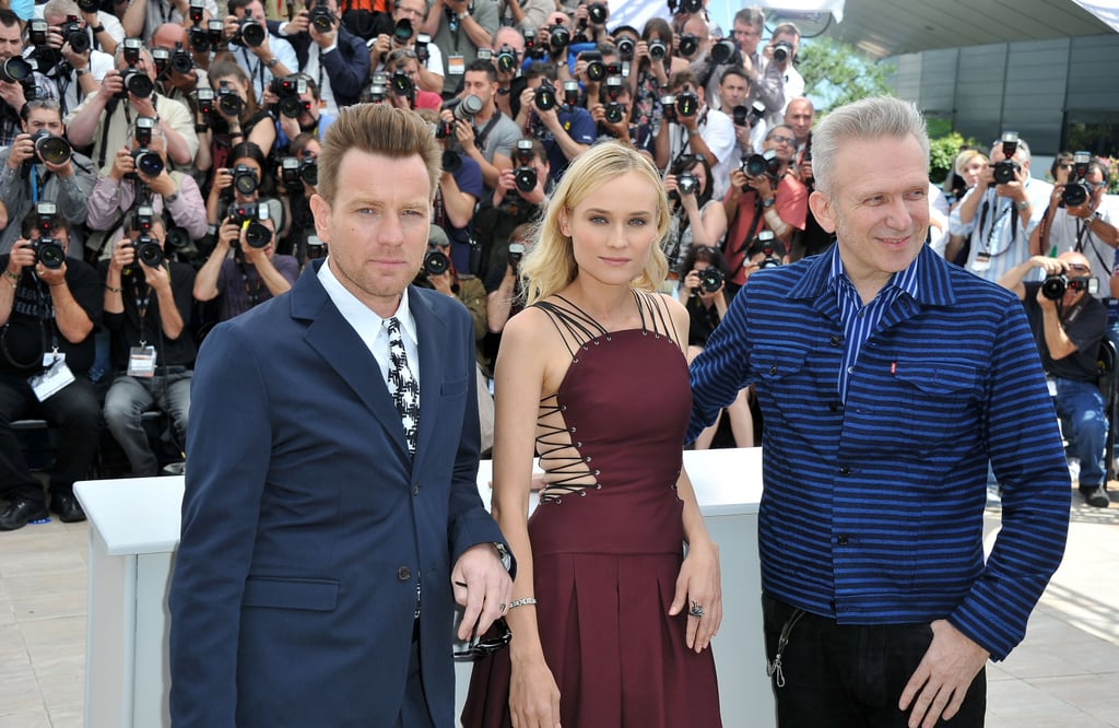 Diane Kruger posed between fellow jurors Ewan McGregor and Jean Paul Gaultier at the start of the Cannes Film Festival.