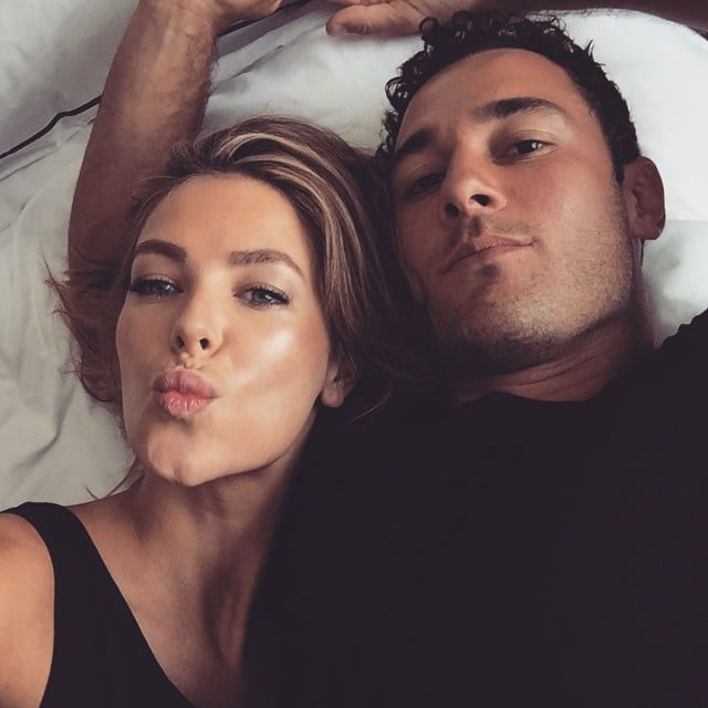 At Christmas time, Jen posted this cute couple's bed-selfie of her and Jake matching in black outfits. Source: Instagram user jenhawkins_