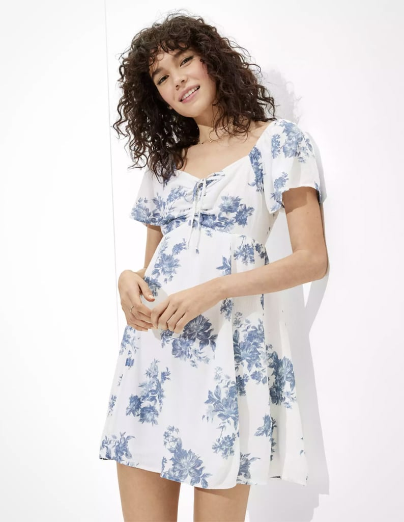 Feminine and Sweet: AE Ruched Flutter-Sleeve Mini Dress